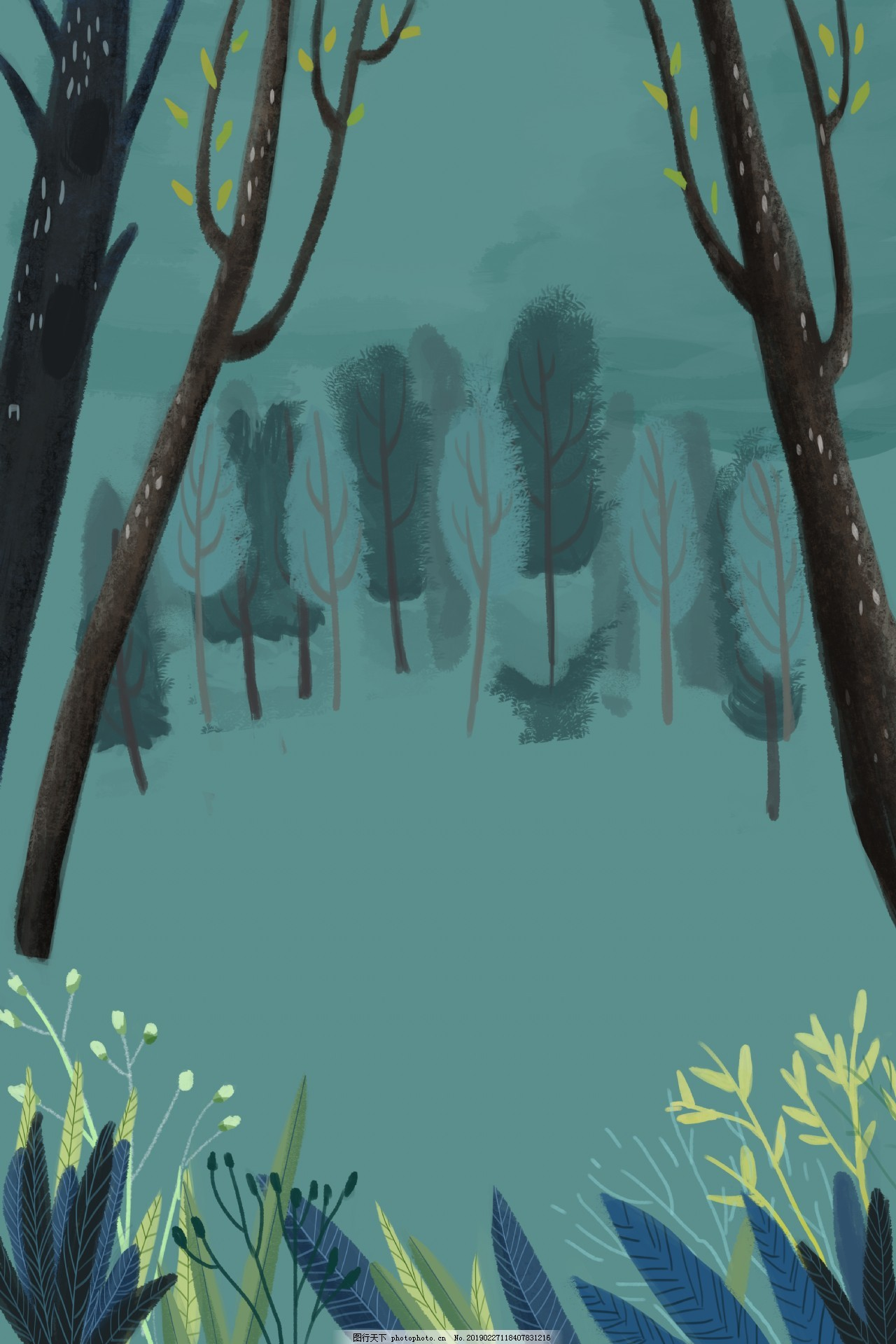 春天绿色森林背景下载