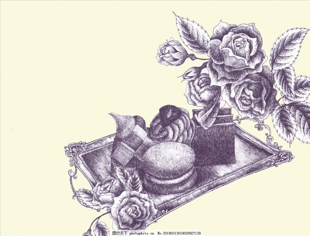 手绘植物花鸟素材