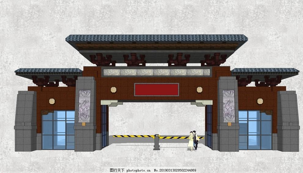 中式酒店大门