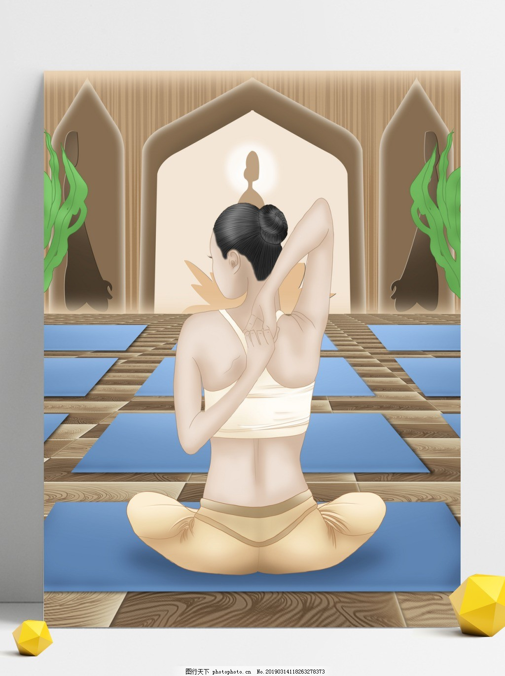 在做瑜珈的女人背景设计