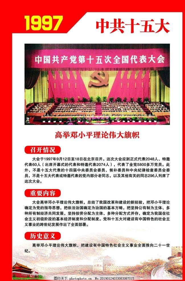 中共十五大,党的光辉历程,党代会,党史宣传栏,党史文化墙,党史走廊,党史展板