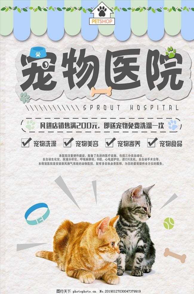 宠物医院促销海报,宠物店,宠物美容馆,萌宠,猫咪,猫脚印,宠物造型