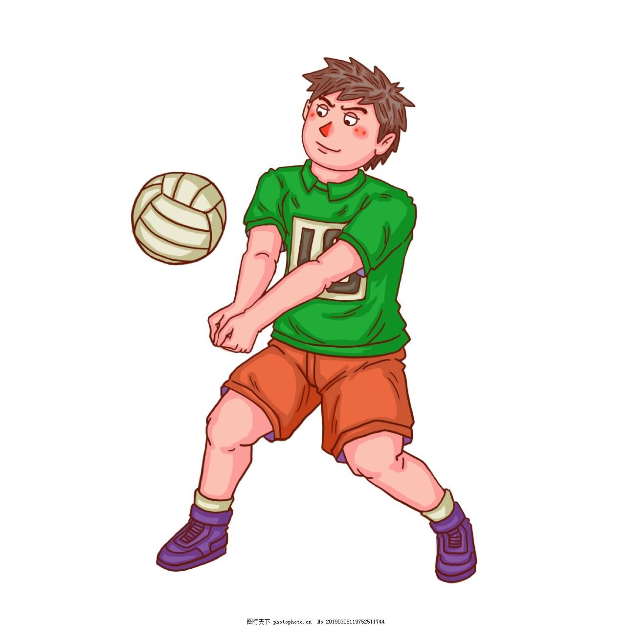 卡通比赛青年人物排球比赛,比赛人物,卡通比赛人物,排球比赛场,比赛第一名,快乐男孩,奖杯