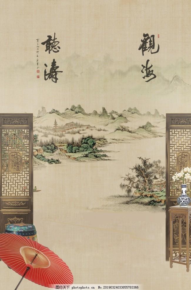 新中式画,新中式装饰画,创意,艺术,写意,墙画,壁画